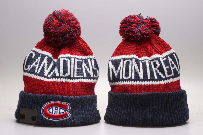 112323c6a7c NEW Men S Blue Red Montreal Canadiens Knitted Cuffed Pom Beanie Hats LA  Striped Sideline Hockey Team Beanie Cap Bonnet Beanies Skull Hat Trucker Hats  Winter ...