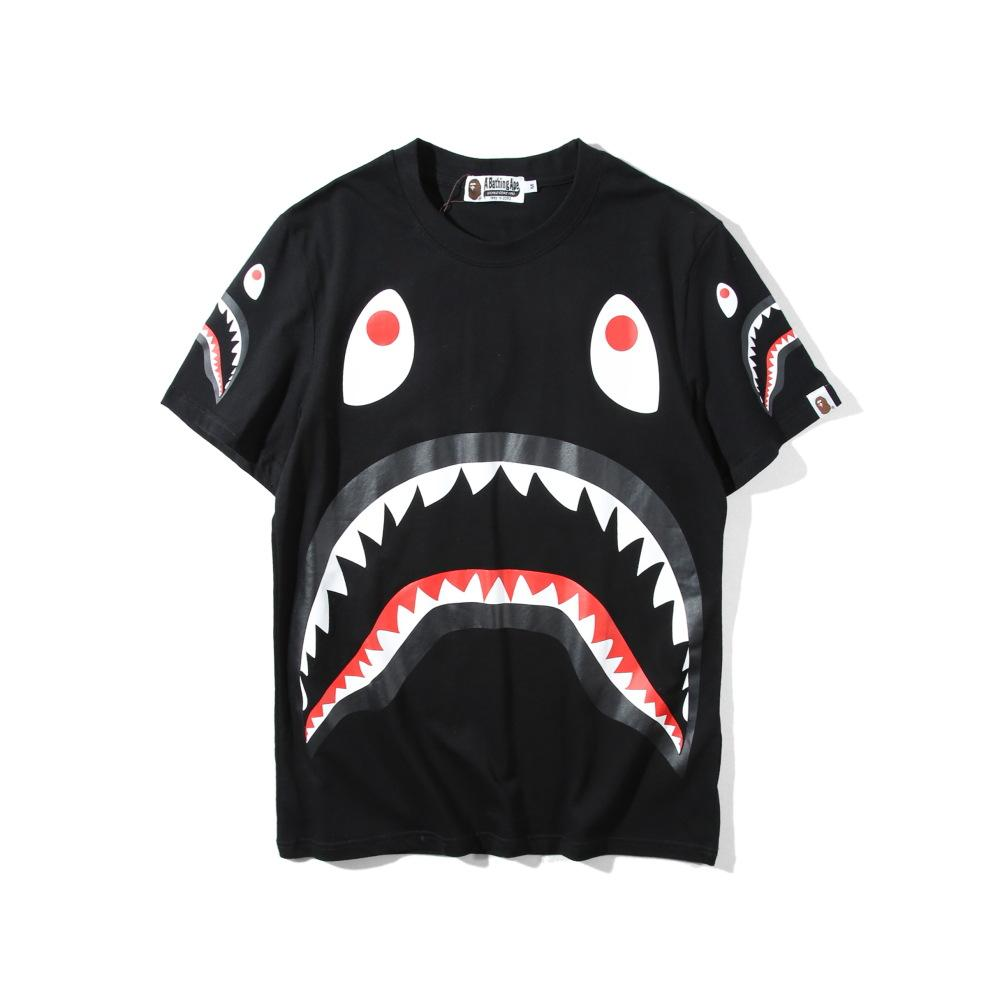 bef9b634cc Spring Summer 2019 Men'S Casual Short Sleeved Shirt Tops Shark Head Printed  Short Sleeved Lovers T Shirt Tee Shirt For Sale Worlds Funniest T Shirts  From ...