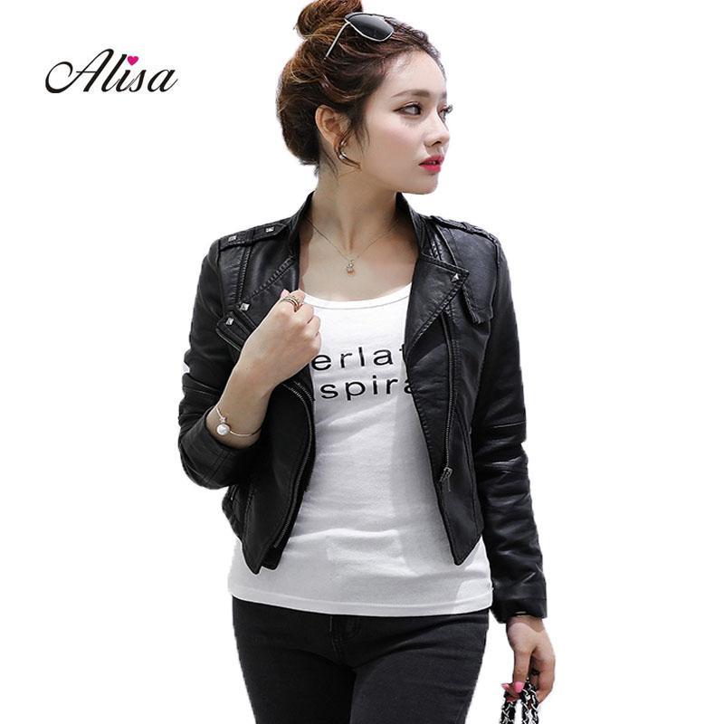 2018 nouveaux manteaux de cuir femmes printemps automne mince veste punk dames Biker veste en cuir noir femme zipper manteau pvc pas cher