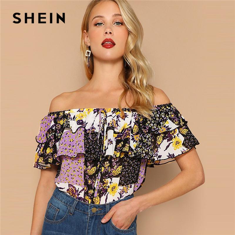 25c28e0f4acbf9 2019 SHEIN Multicolor Off Shoulder Layered Foldover Colorblock Floral Blouse  Vacation Ruffle Drawstring Women 2019 Summer Beach Tops Q190422 From  Tai002, ...
