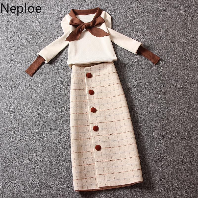 Neploe 2019 New Women Knitted Sets Bow Tie Hit Color Sweater + Medium-long Buttons Plaid Skirt Suits Knitted Sets Outfits 54673 Y200110