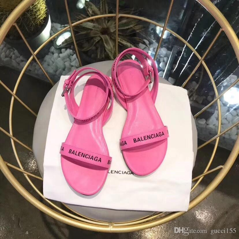 2019 novo Super marca designer sandal flat strappy moda casual top quality trabalho mulheres sandália entrega gratuita com caixa BL13