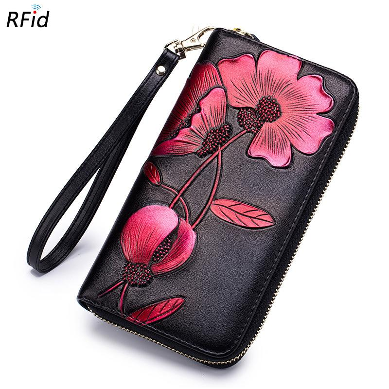 Women's Elegant Black Color Genuine Leather Hand Clutch Bag Female Redbud Pattern Versatile Wallet Cell Phone Purse