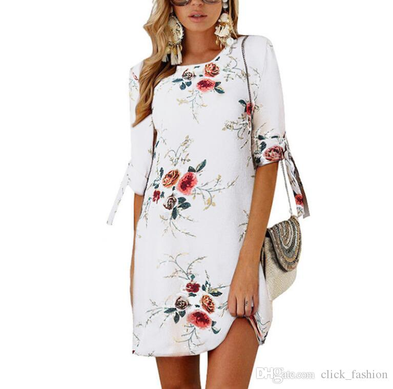 4979ba660c5a Moda casual para mujer de las señoras largo Boho Maxi fiesta de noche  vestido floral gasa vestido de playa de verano vestidos de manga corta