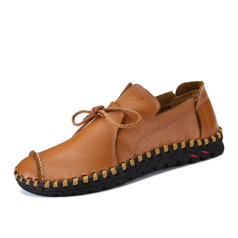 d9a1be05635 2019 Designer Male Handmade Leather Flats Lace Up Lofers Moccasins Casual  Shoes Adult Men Footwear 38-48