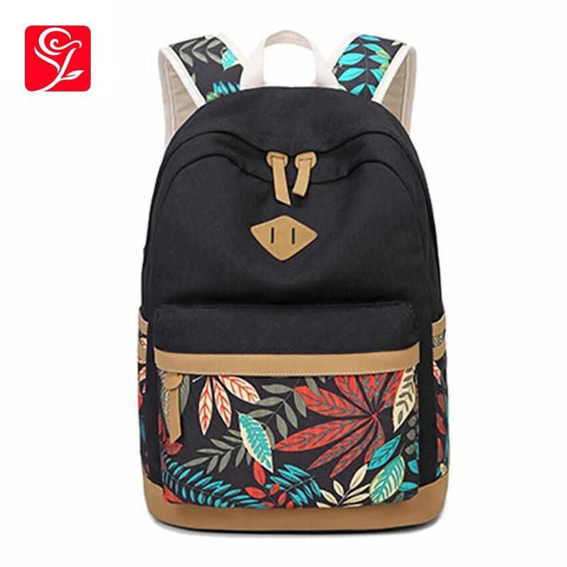 2975dca4304f Vintage Leaf Print Canvas School Backpack For Children School Bags For  Girls Child Book Bag Women Laptop backpack