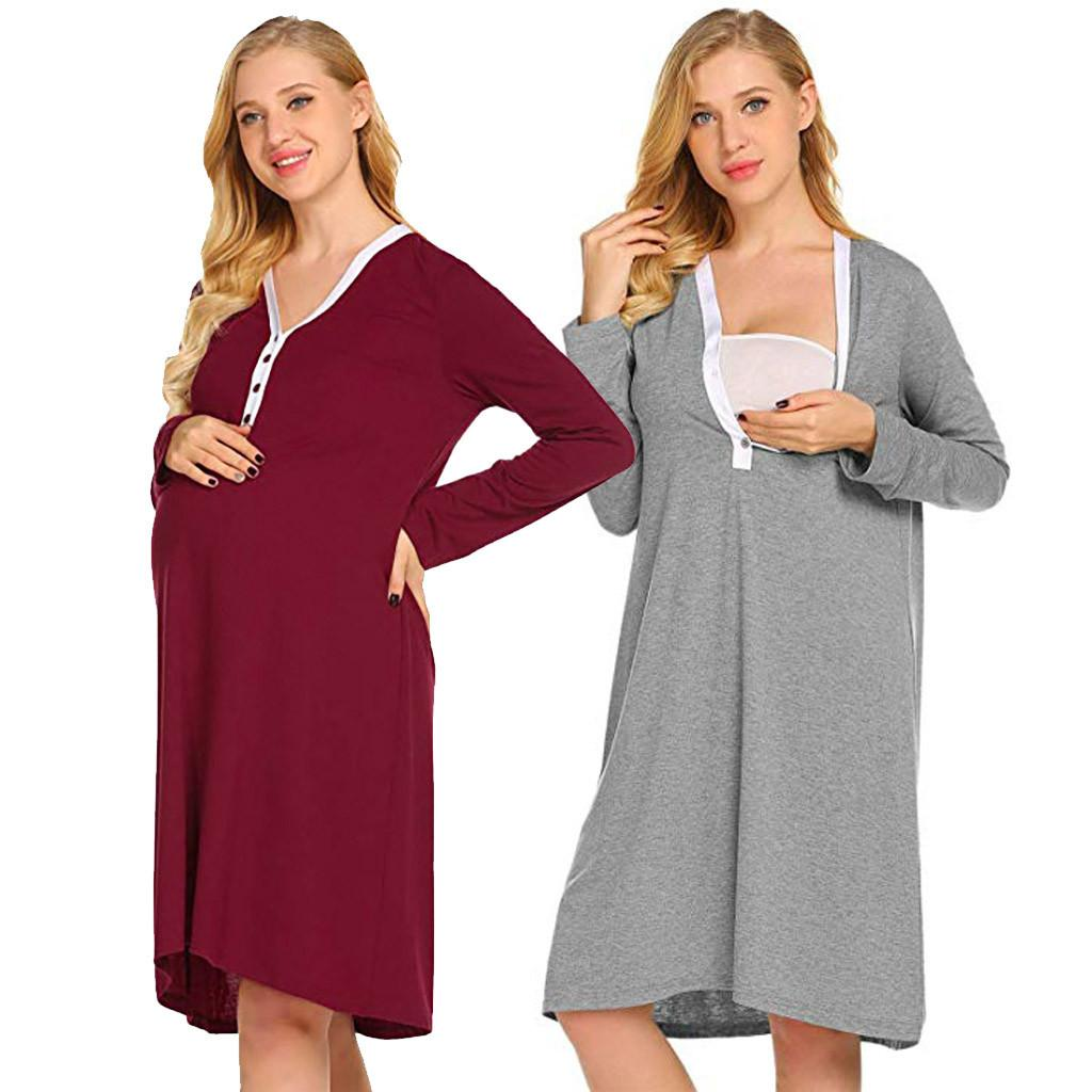 6e5d57b3bc7 2019 ISHOWTIENDA New Fashion Maternity Nursing Robe Delivery Nightgowns  Hospital Breastfeeding Gown Dress Large Size Women Clothing From Seein