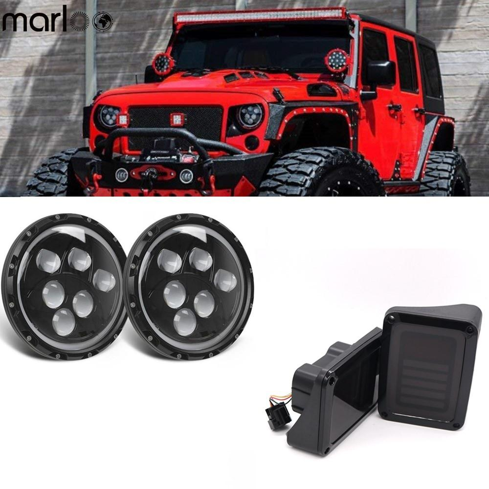 Jeep Jk Headlights >> For 2007 2018 Jeep Jk Wrangler 7 120w Led Headlight White Full Halodrl Rear Brake Led Tail Light Taillights Assembly