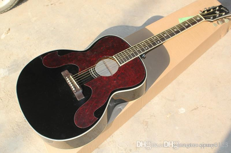 Wholesale 43 inch acoustic guitar 180 model with Star inlay on fingerboard and bridge Solid black finished guitar