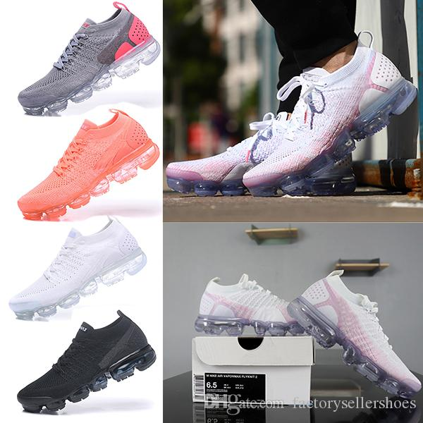 2018 Nike Air VaporMax Flyknit 2.0 Trainer v2 Air Cushion Running Shoes Uomo Sneakers Donna Black White Sport Shock Jogging Walking Hiking 2018