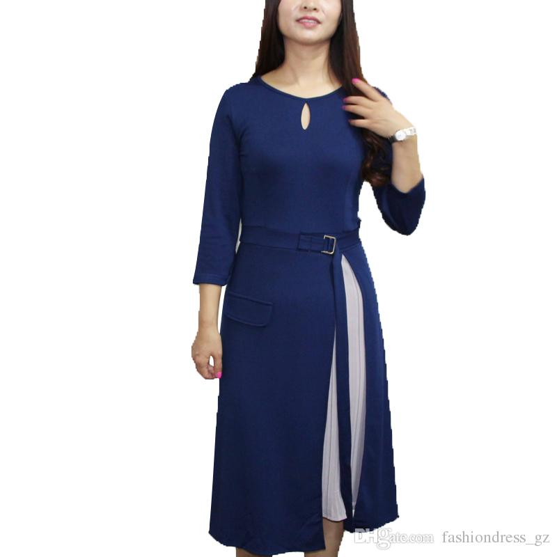 ef81536fdfa Women Apparel Ladie Casual Dress Crew Neck Long Sleeve A Line Plus Size  Knee Length With Belt For S M L XL Elegant Dress All White Maxi Dresses Off  The ...