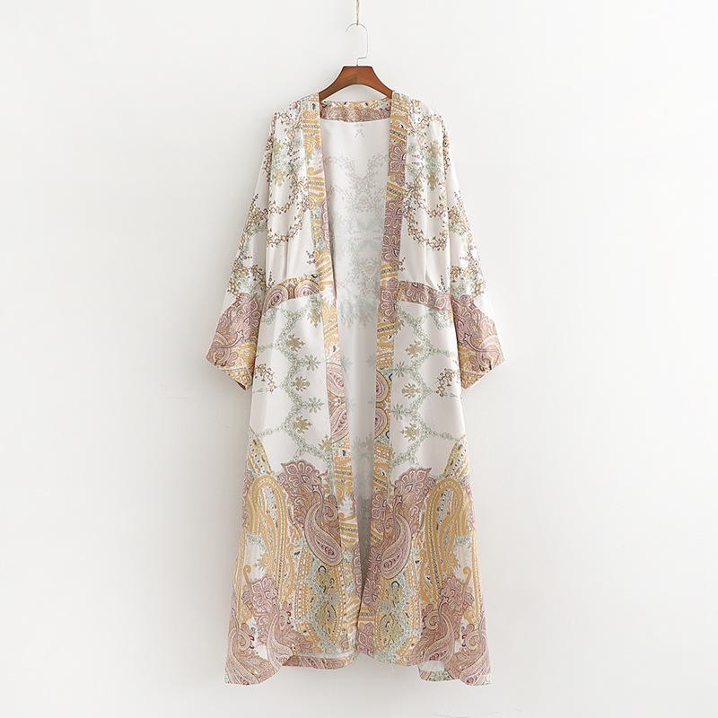 001d239ae8f 2019 Summer New Long Loose Printed Kimono Cardigan Jacket Women Coat Top  B7020 Brown Leather Jacket Waterproof Jackets From Moon201284, $21.34|  DHgate.Com