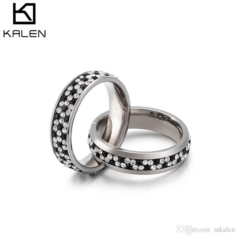 Interlocking Wedding Rings.Kalen Gold Silver Stainless Steel Rings For Women Two Interlocking Rings Zircon Femme Wedding Rings Anillos Mujer Jewelry Sweetheart Gifts
