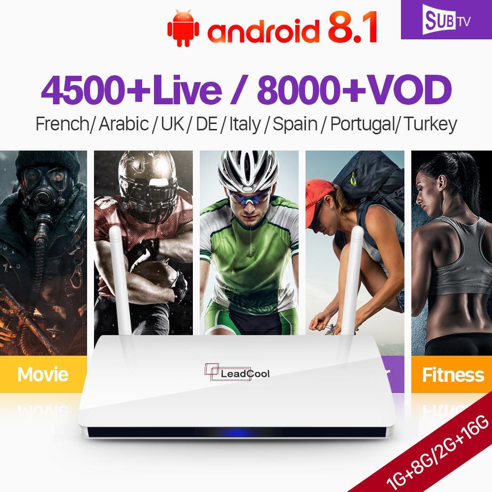 Leadcool SUBTV IPTV France Arabic Android 8 1 1G 8G 2G 16G IPTV  Subscription 1 Year IP TV Code France Arabic IPTV Italy Canada Spain