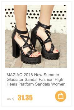MAZIAO Plus size 46 Summer Square High Heel Slippers Fashion Sexy Luxury Rhinestone Sandals Causal Flip flops Beach Shoes Woman