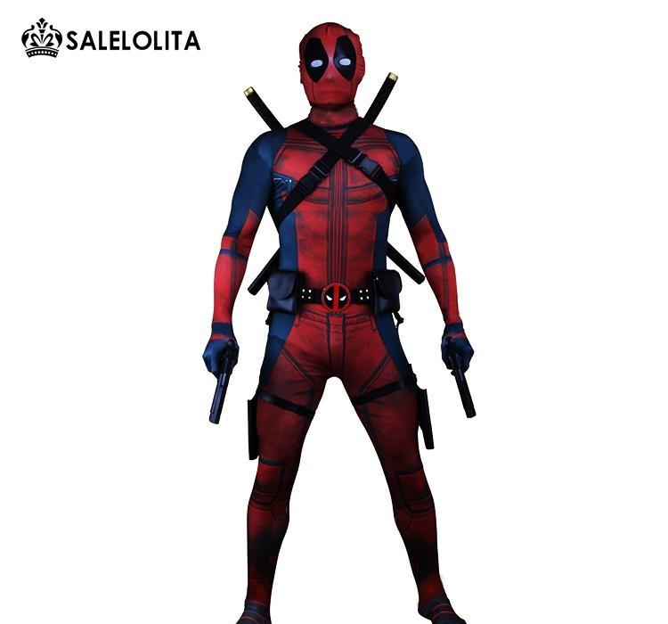 (Clothes Equipment)Deadpool Costume Adult Man Cosplay Deadpool Costumes Wade Wilson Spandex Lycra Nylon Zentai Bodysuit Hallowee