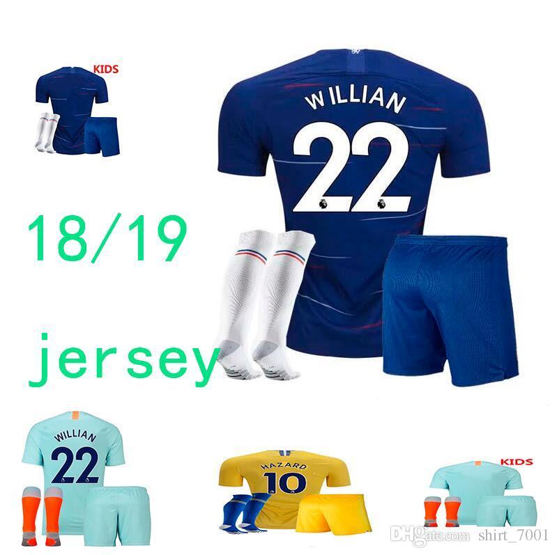 119786dca02 HAZARD Kids Children Home Soccer Jersey 18 19 HIGUAIN WILLIAN Away ...