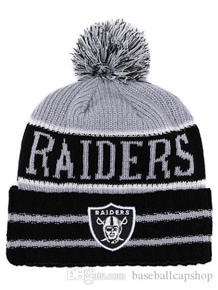 68a9cc4eb06944 best price 2018 new mens oakland raiders knitted cuffed pom beanie hats  striped sideline wool warm