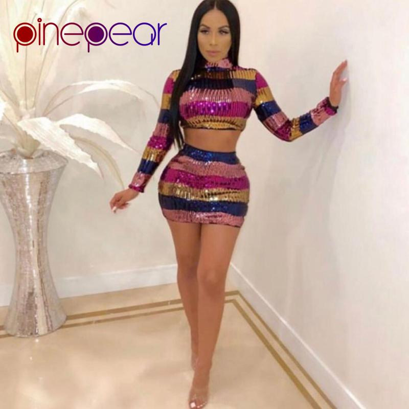 4cafcf7fdca 2019 PinePear Colourful Striped Sequin Dress 2019 Winter Women Long Sleeve  Turtleneck Crop Top And Skirt Set Drop Shipping From Viviant