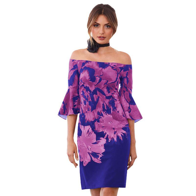 d268b4d083f Sexy Women Summer Dress 2019 Floral Print Off the Shoulder Half ...