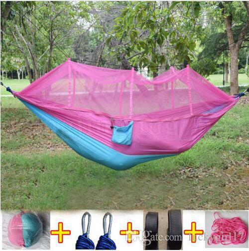 Mosquito Net Hammock 15 Colors 260*140cm Outdoor Parachute Cloth Field Camping Tent and shelters Garden Camping Swing Hanging Bed