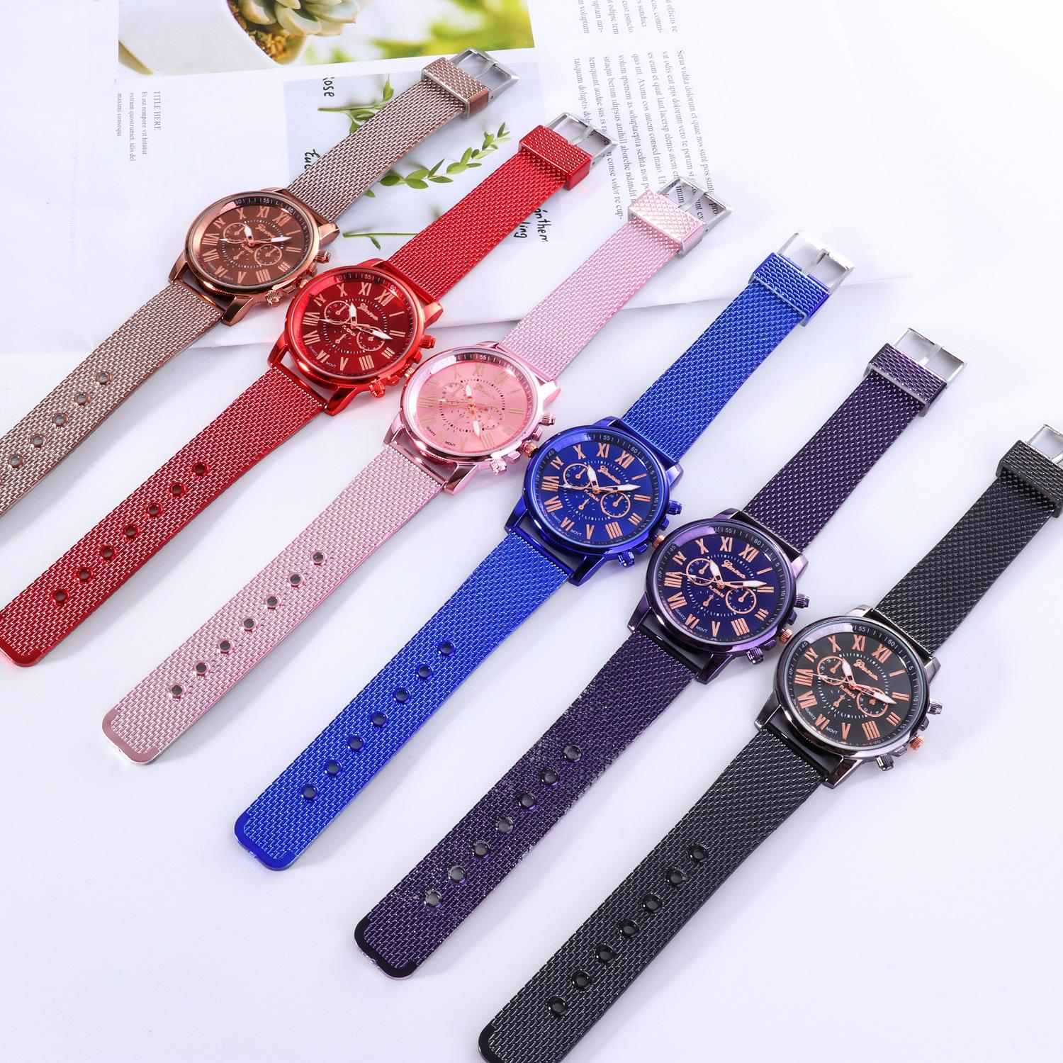 Luxury GENEVA watch Plastic Mesh Belt Waist watches for Women Men Brand Dual Colors Rubber Strape Watch 2019 Casual Sports Business Style