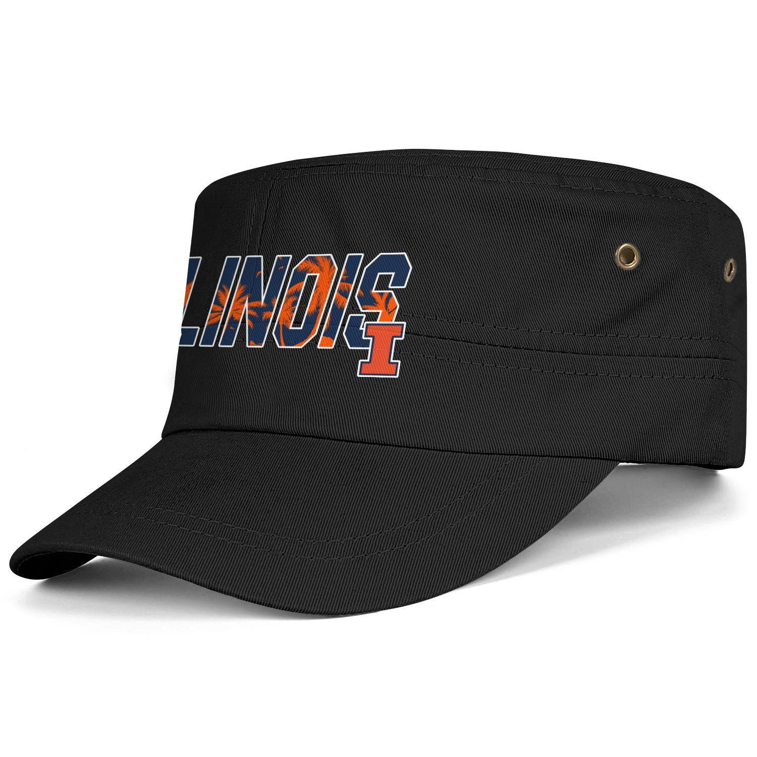 Illinois Fighting Illini Basketball Coconut tree logo Black Men Women Military Fitted Cadet Army Cap Tactical Hat Flat Hat Student