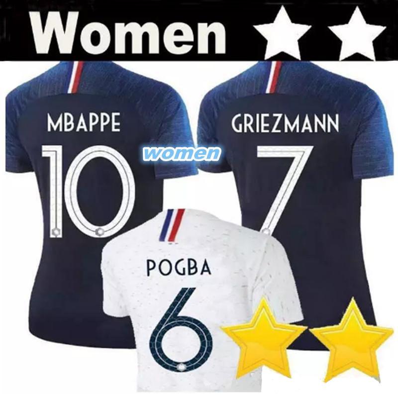 big sale bc990 20e43 2 Stars MBAPPE GRIEZMANN Women Soccer Jerseys 2018 World Cup National Team  POGBA GIROUD DEMBELE KANTE PAVARD Home Away Two Football Shirts