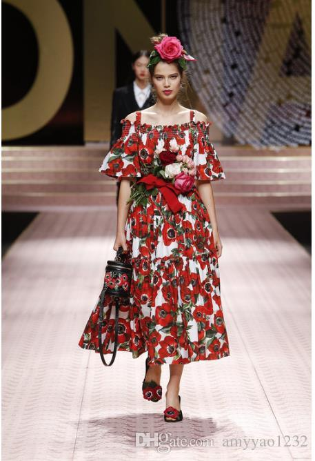 88998ac8c0327 1122 2019 Runway Dress Shipping Prom Fashion Slash Neck Spaghetti  StrapShort Sleeve Polyester Flora Print Womens Clothes Brand Same Style AS