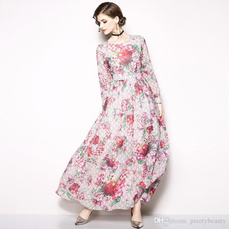Holiday Beach Dress Maxi Tunic Dresses Women Long Sleeve Vintage Print  Floral Dress Plus Size Clothing Autumn Long Sleeve Dresses Vintage Runway  Dresses ... 2c7fb45212ea