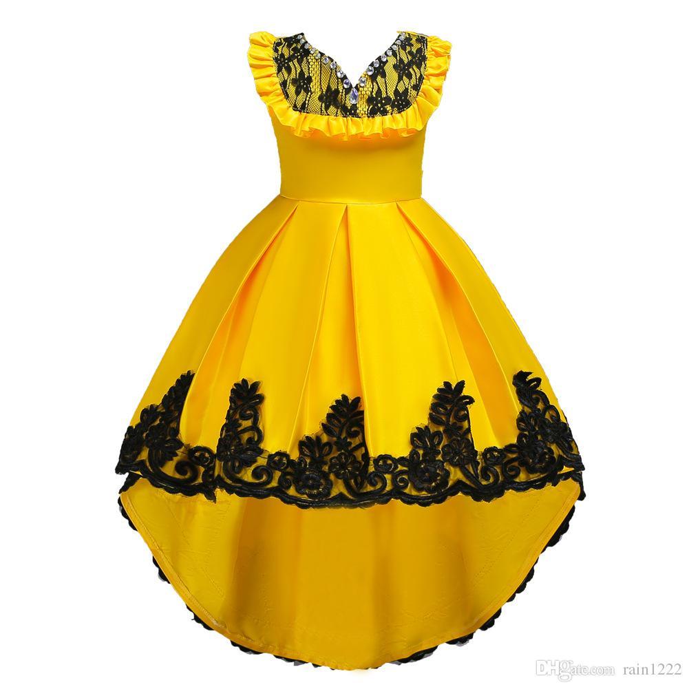 807127bb2d27f Acheter Filles Soirée Soirée Robe De Bal Robe De Mariage Enfants Princesse  Dentelle Volants Arc Robe Enfants Soirée Robe Complète De  18.4 Du Rain1222  ...