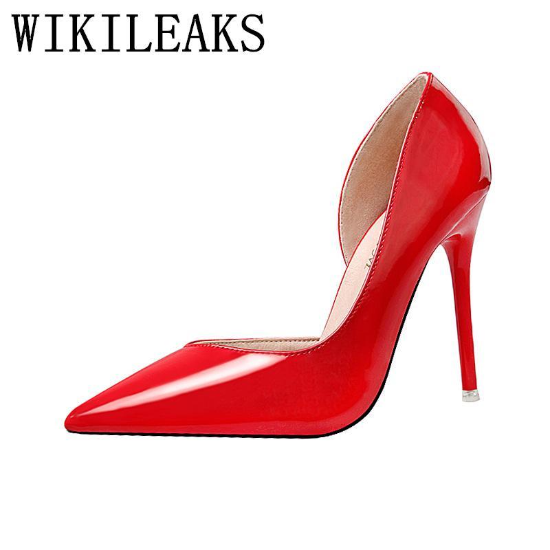 25a4bc00 Compre Zapatos De Vestir Mujer Rojo Tacones Altos Estilete Tenis Feminino  Salto Alto Punta Estrecha Patentes De Charol Zapatos De San Valentín Zapatos  De ...