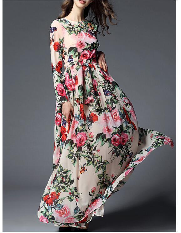 e0d6f0c5da5 2019 Women Floral Bandage Long Dress Summer Printed Maxi Dress Boho Style  Long Beach Dress Evening Party Long Bodycon Dresses Wholesale Black And  White ...