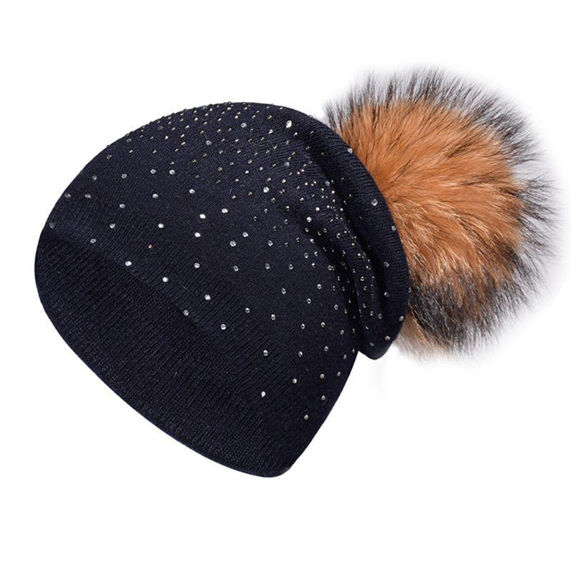 9ed7e914de2 Women Beanies Winter Cashmere Ribbed Knitted Hat Rhinestone Embellishment  Detachable Fluffy Pompom Ball Beanie Cap Solid Color Fedora Hat Baseball  Caps From ...