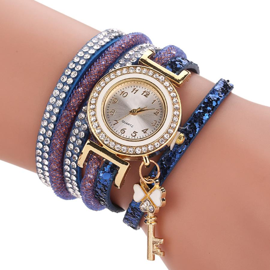 Origin key pendant lady with diamond bracelet watch fashion digital small watch head student quartz watch