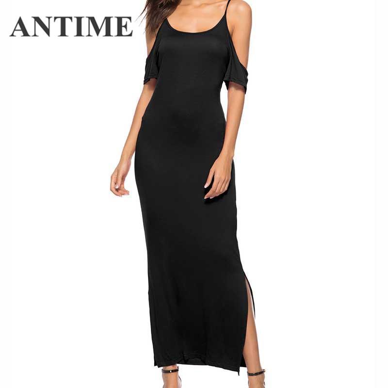 2c1cd9d3493b ANTIME Casual Women Black Dress Long Straight Short Sleeve Off ...