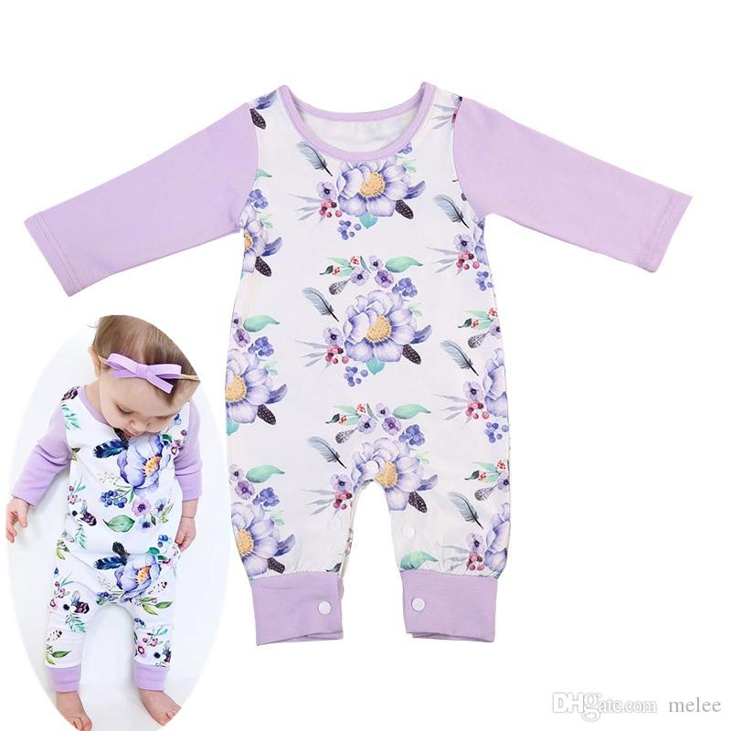 6f712393f4a Baby Designer 2019 NEW Long Sleeve Baby Infant Body Suits PURPLE Floral Rompers  Girls Long Sleeve Jumpsuits Kids Cotton Bodysuits Long Sleeve Baby Infant  ...