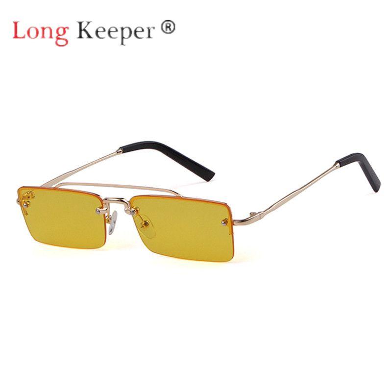 86f0696c2f2d Long Keeper Sunglasses Women Men Semi Rimless Sun Glasses Eyewear Eyeglasses  Metal Little Square Cute Frame HD Len UV400 Fashion Cheap Designer  Sunglasses ...