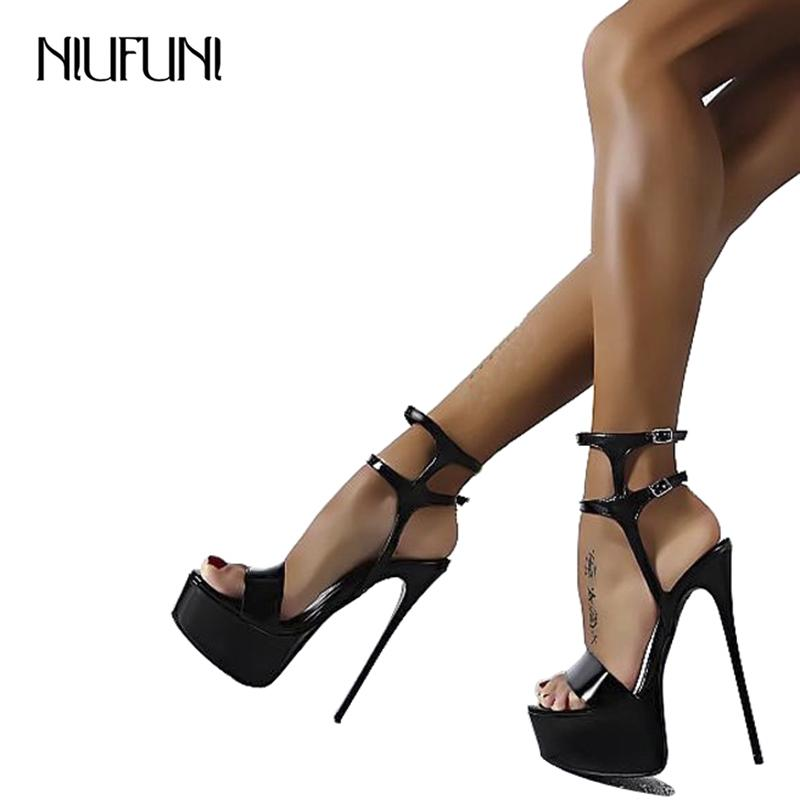 e7b88977290 Big Size 34 46 Ultra High Heels Sandals Women Shoes Platform Nightclub Sexy  Ladies Sandals Open Toe Ankle Strap Party Sandals Salt Water Sandals  Bridesmaid ...