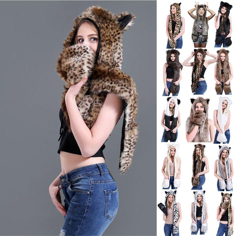 331aa2a0197 2019 Cartoon Animal Hood Faux Fur Hat With Scarfs Mittens Ears And Paws 3  In 1 Warm Hat Costume Props Gift From Heheda1