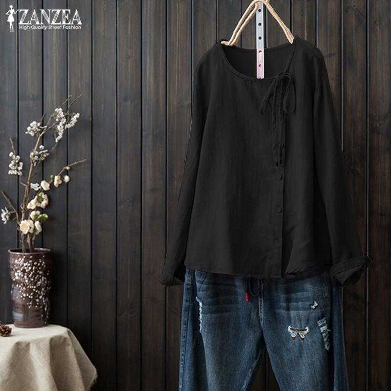 83b3e5c5d5c 2019 2019 ZANZEA Women Long Sleeve Shirts Vintage Solid Cotton Linen Tunic  Tops Elegant OL Chic Blouse Casual Button Blusas Female From Yesterlike, ...