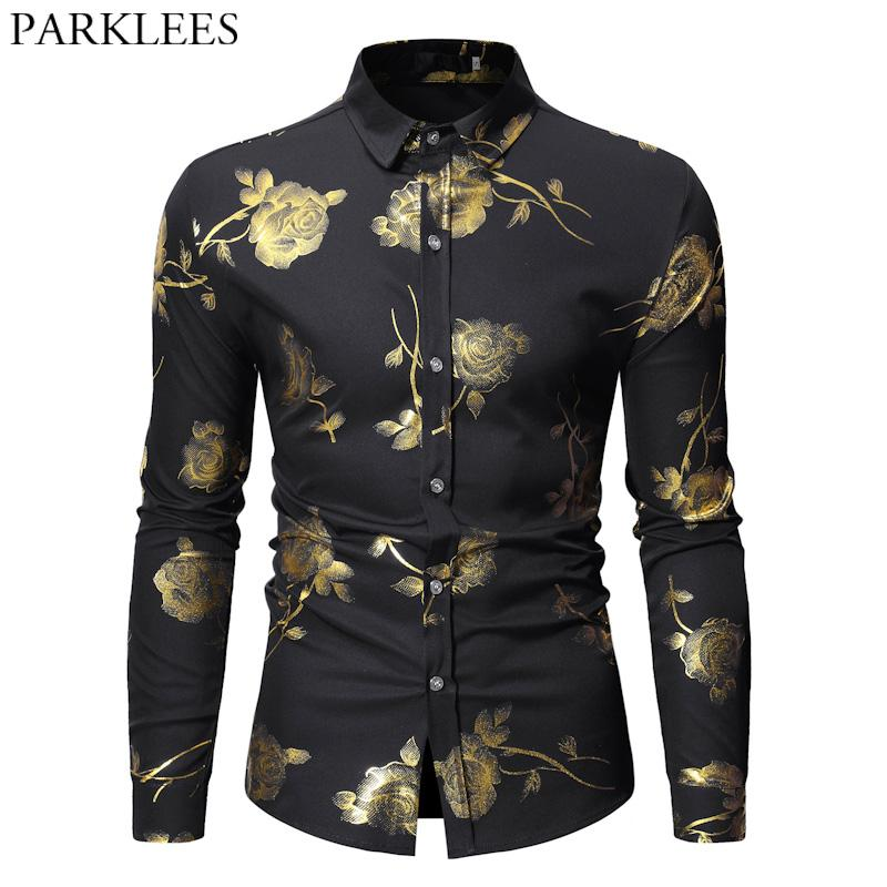 27f51050dc1 2019 Mens Hipster Bronzing Rose Print Shirt Men Long Sleeve Gold Floral  Button Down Dress Shirts Black Slim Fit Prom Chemise Hommes Tops From  Gentlecasual