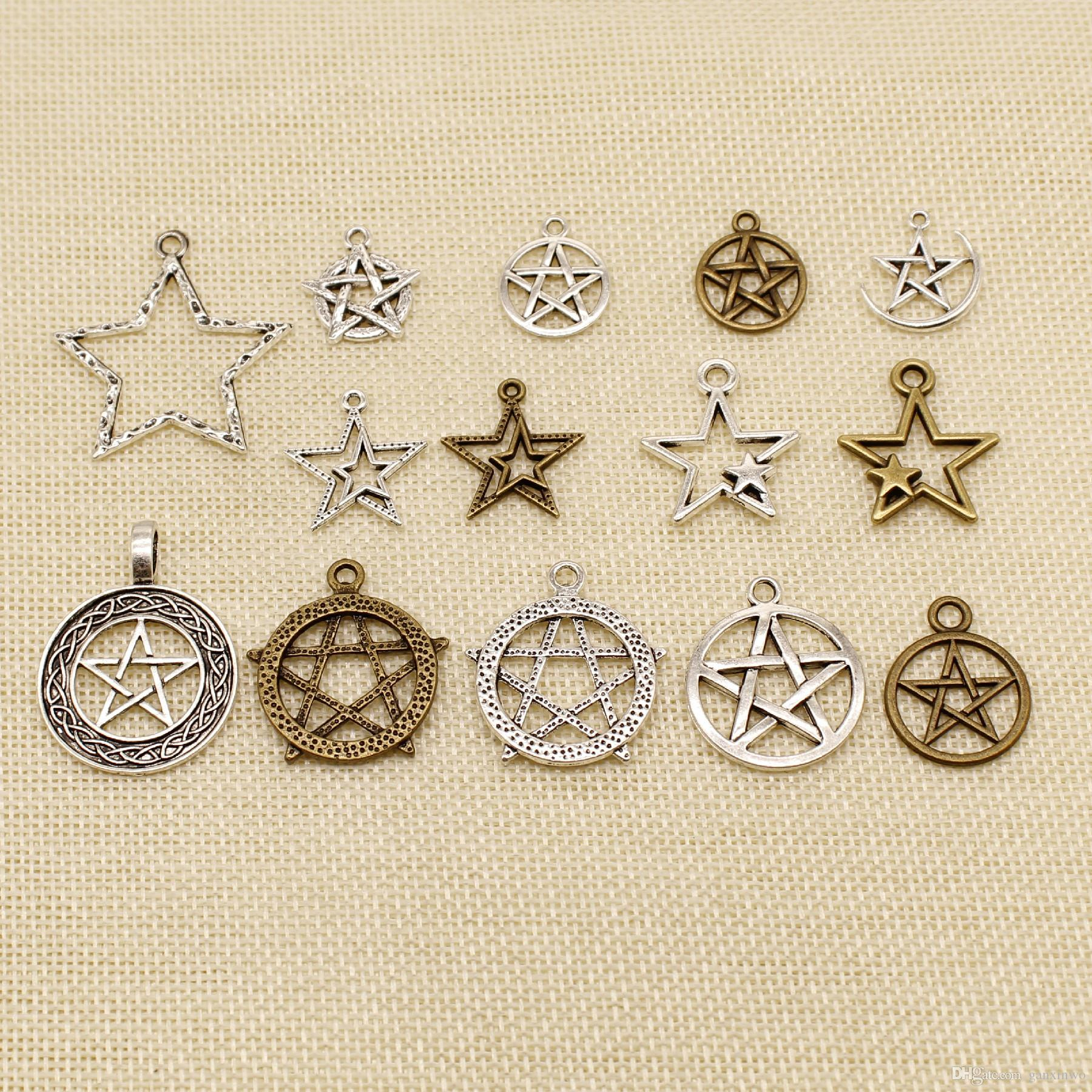 40 Pieces Charm For Making Jewelry Diy Hollow Five-Pointed Star Connection HJ212