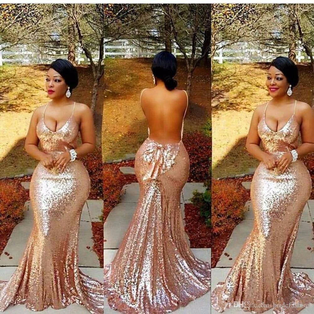 Sparkly African Sequins Rose Gold Mermaid Prom Dresses 2018 Sexy Plus size Spaghetti Straps Evening Dresses With Bow Backless robe de soiree