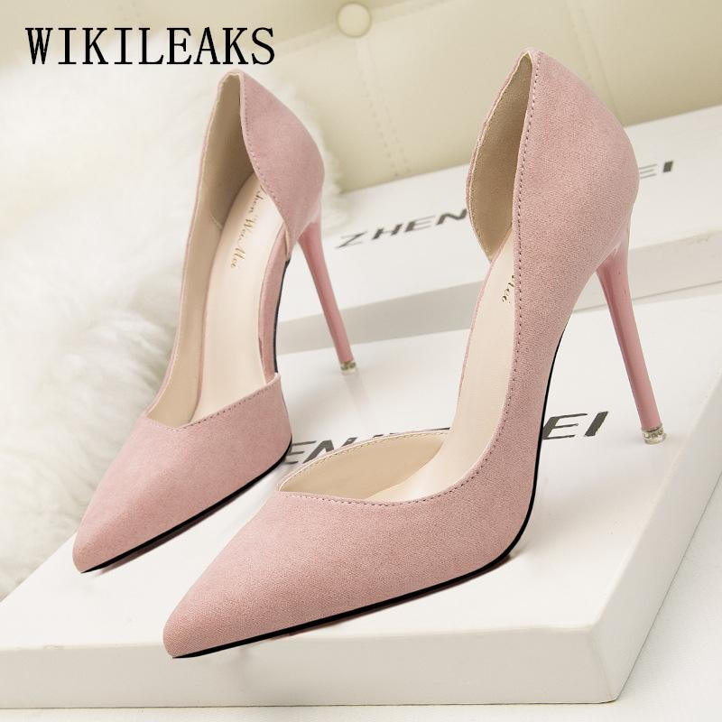 Dress Designer Wedding Shoes Woman Flock Extreme High Heels Pumps Luxury  Brand Bigtree Shoes Women Stiletto Salto Alto Zapatos Mujer Bass Shoes  Skechers ... dd1cbfac7807