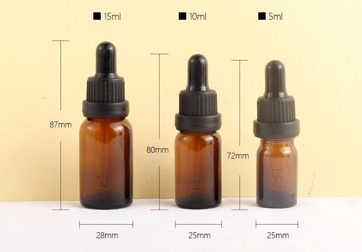 Bottiglie DHL Ambra vetro bottiglie di olio essenziale liquido reagente Dropper pipette oli essenziali contagocce Contenitore 100ml 5ml-