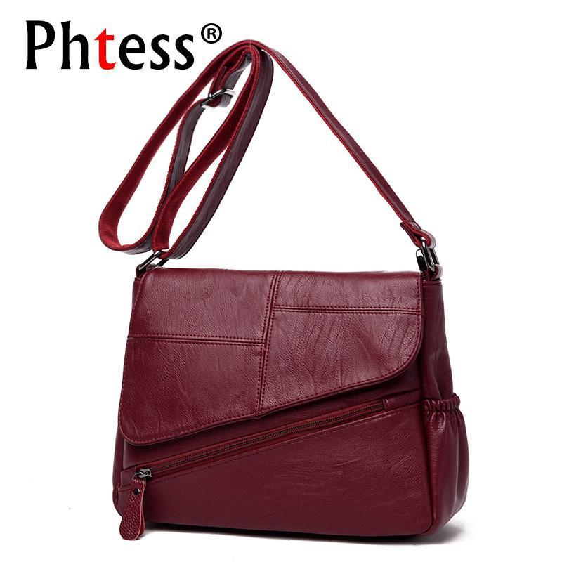 f6d5246310c New Female Leather Messenger Bags Feminina Bolsa Leather Luxury Handbags  Women Bags Designer 2018 Sac A Main Ladies Shoulder Bag Y190124 Leather  Satchel ...