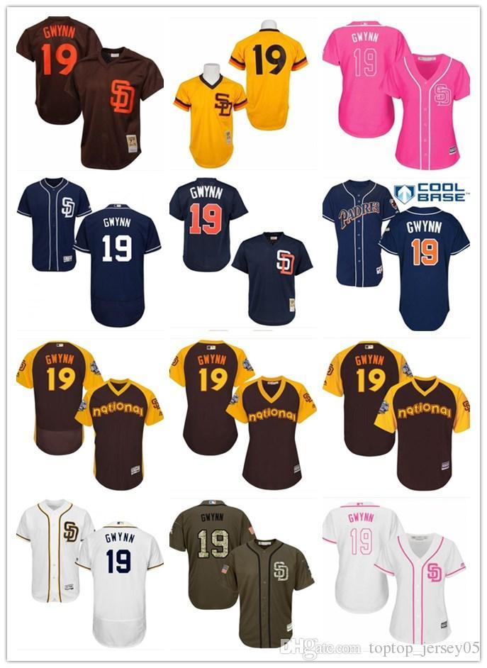 release date: 05e28 865fa 2018 San Diego Padres Jerseys #19 Tony Gwynn Jerseys men#WOMEN#YOUTH#Men s  Baseball Jersey Majestic Stitched Professional sportswear