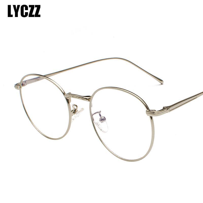ccb85b2f4 LYCZZ Fashion Retro Anti Blue Light Metal Glasses Frame Blue Ray ...