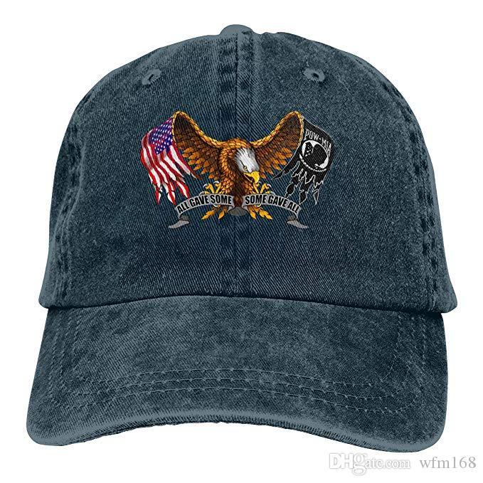 2d6d6cace12d 2019 Nuevo Diseñador Gorras de Béisbol POW MIA American Eagle Flag Mens  Cotton Ajustable Lavado Twill Gorra de béisbol Sombrero